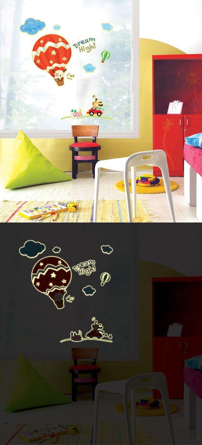 """Светящиеся наклейки """"Воздушное путешествие"""" в детской комнате"""