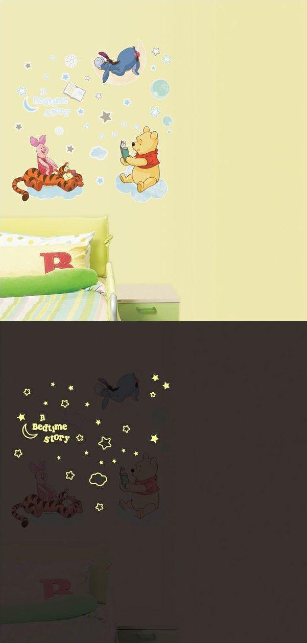 """Светящиеся наклейки на обои """"Вечерняя история"""", наклеенные на стену: день и ночь"""