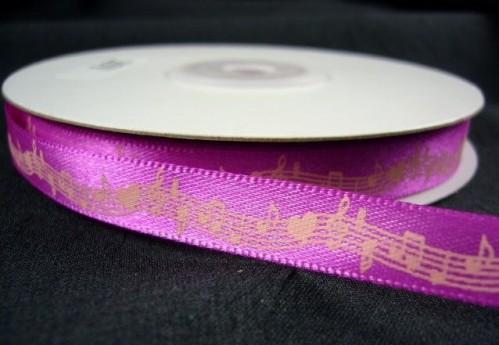 """Подарочная атласная лента малинового цвета с нотным узором из набора лент """"Музыка сердца"""""""