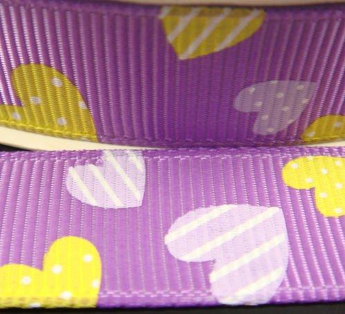 """Репсовые ленты """"Весёлые сердечки"""": цвет - сиреневый, ширина - 16 мм"""