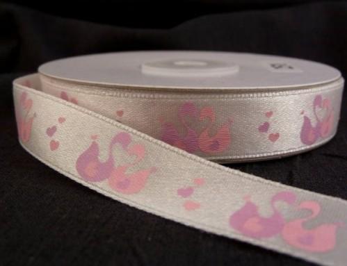 """9.80: Розовая атласная лента с сердечками """"Лебеди"""", ширина 16 мм, длина 4.5 метра"""