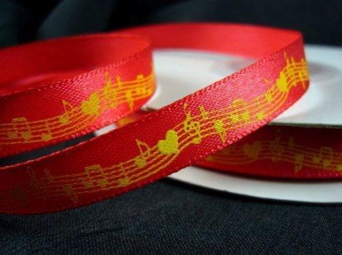 """Красная подарочная лента с нотным узором из набора лент """"Музыка сердца"""""""