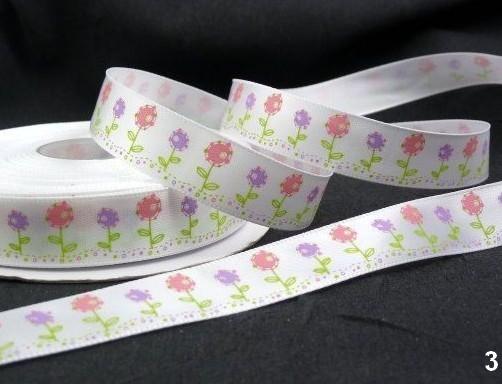 9.33: Набор из 5 атласных ленточек белого цвета с цветочным рисунком