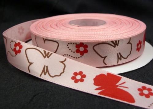 """9.92: Декоративная атласная ленточка """"Бабочки"""" розового цвета: ширина 16 мм, длина почти 4.5 метра"""