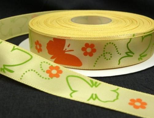 """9.92: Декоративная атласная лента """"Бабочки"""" жёлтого цвета: ширина 16 мм, длина почти 4.5 метра"""