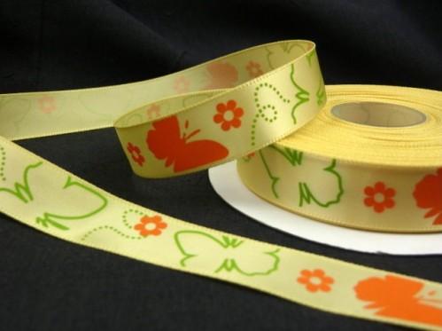 "9.92: Декоративная атласная ленточка ""Бабочки"" жёлтого цвета: ширина 16 мм, длина почти 4.5 метра"