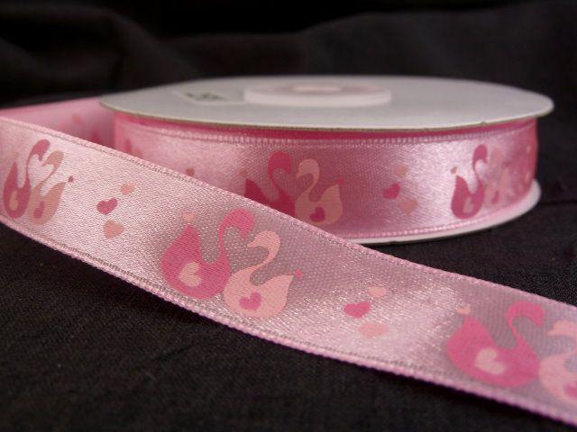 """атласная лента розового цвета из набора лент """"Лебеди"""""""