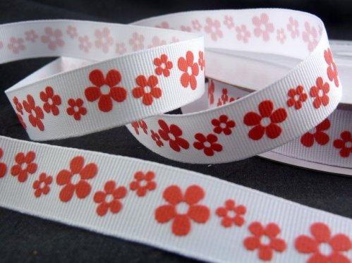 """9.114: Набор из 4 ленточек с рельефным рисунком """"Цветы"""", белая лента с красными цветами"""