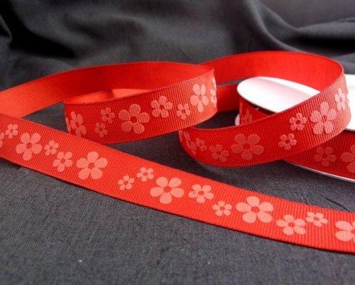 """9.114: Набор из 4 ленточек с рельефным рисунком """"Цветы"""", красная лента"""