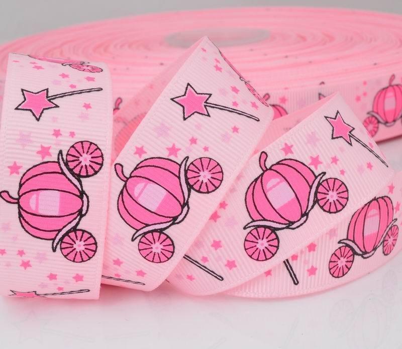 """Детская розовая репсовая декоративная лента """"Карета для золушки"""", 22 мм шириной"""