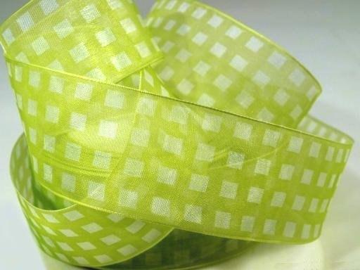салатовая капроновая лента в клетку, для плетения косичек, ширина 35 мм