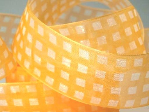 жёлтая капроновая лента в клетку, для плетения косичек, ширина 35 мм
