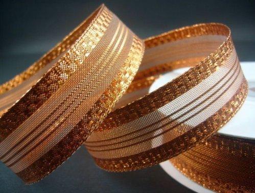 Оригинальная декоративная металлизированная лента тёмно-золотого цвета