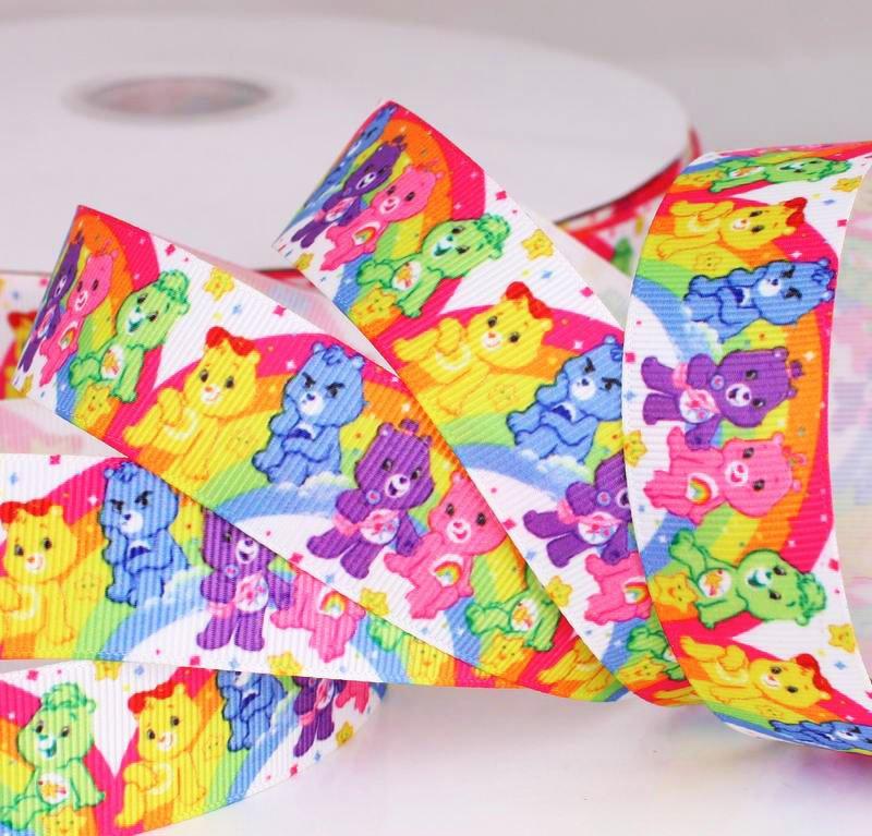 """Яркая декоративная лента """"Мишки на радуге"""", ширина 25 мм - репсовая лента для детских подарков"""