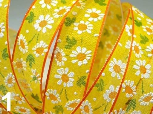 """Декоративная капроновая лента с проволочкой жёлтого тона """"Ромашковый день"""", ширина 25 мм"""