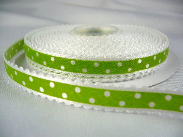 Оригинальная декоративная атласная лента салатового цвета из набора лент