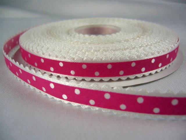 Оригинальная декоративная атласная лента ярко-розового цвета из набора лент
