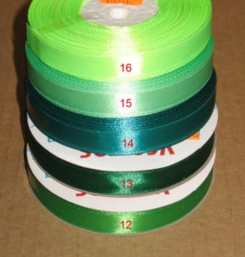 атласные леточки 12 мм, цвета: зелёный и тёмно-зелёный, бирюзовый, салатовый и неоново-зелёный