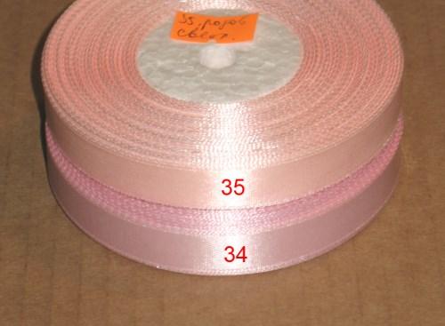 ленты атласные, ширина 12 мм, цвета розовый и светло-розовый
