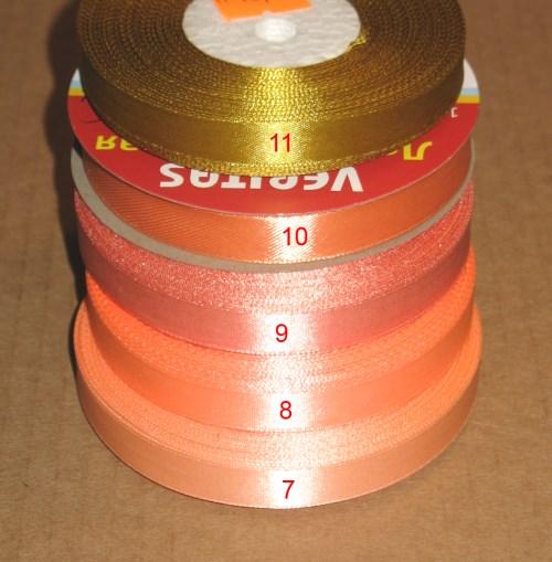 ленты атласные, 12 мм шириной, цвета: персиковый, насыщенный персиковый, тёмно-персиковый и персиково-оранжевый (золотой светлый), горчичный (тёмный золотой)