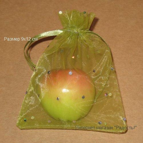Зелёные в горошек подарочные мешочки из органзы, размер 9х12 см (цвет зелёное яблоко)