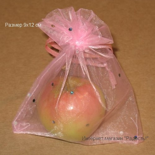 Светло-розовые в горошек подарочные мешочки из органзы, размер 9х12 см