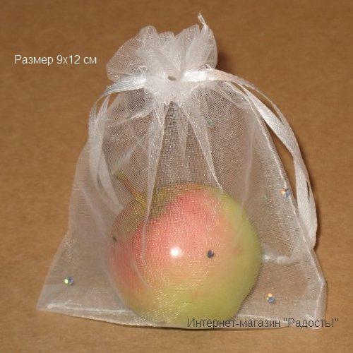 Белые в горошек подарочные мешочки из органзы, размер 9х12 см