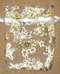 белые мешочки из шифона с золотыми снежинками, размер 7х9 см
