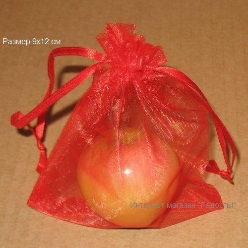 подарочные мешочки из органзы, 9х12 см, красного цвета