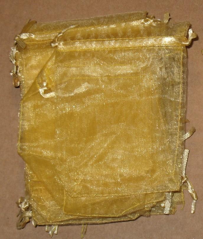 Золотые подарочные мешочки из органзы, 9х12 см
