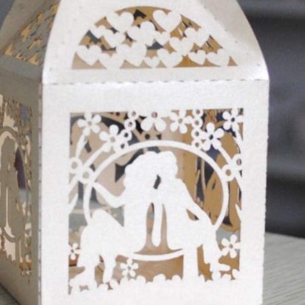 """Бомбоньерки """"Счастливая пара"""" из белого картона, коробочки из картона для свадьбы"""
