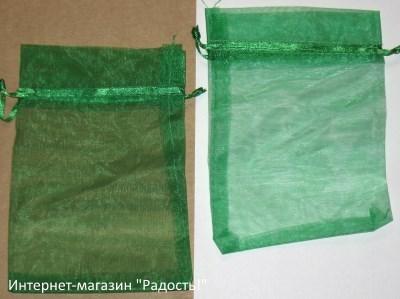 фото: мешочки из органзы, цвет зелёный