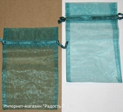 фото: мешочки из органзы, цвет изумрудный