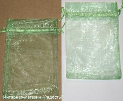 фото: мешочки из органзы, цвет салатовый