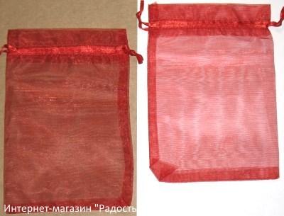 фото: мешочки из органзы, цвет красный