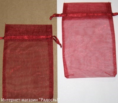 фото: мешочки из органзы, цвет бордовый / тёмно-красный