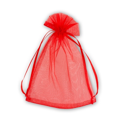 красные мешки из органзы, размер 16*23 см