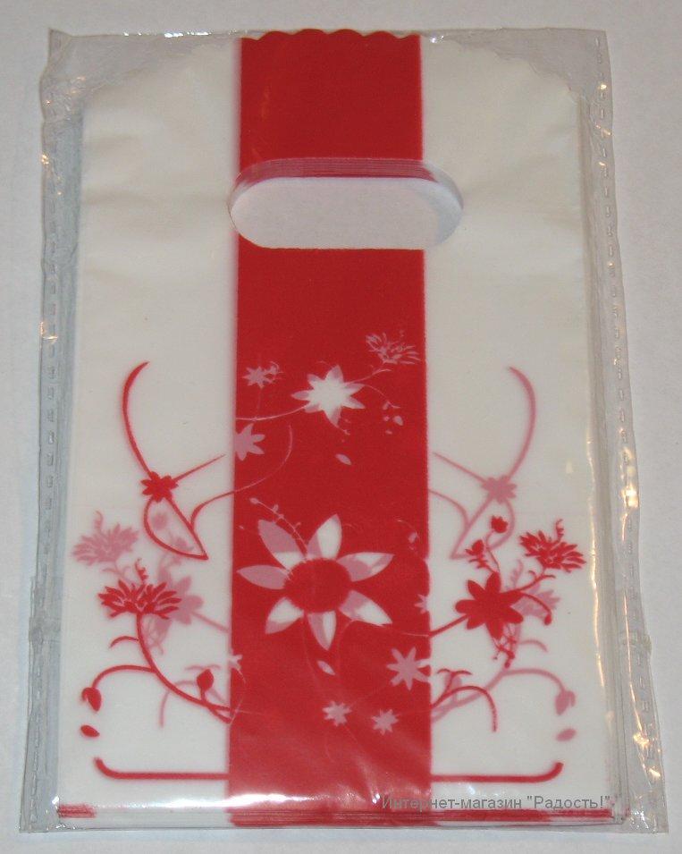 бело-красные пластиковые пакеты с цветами