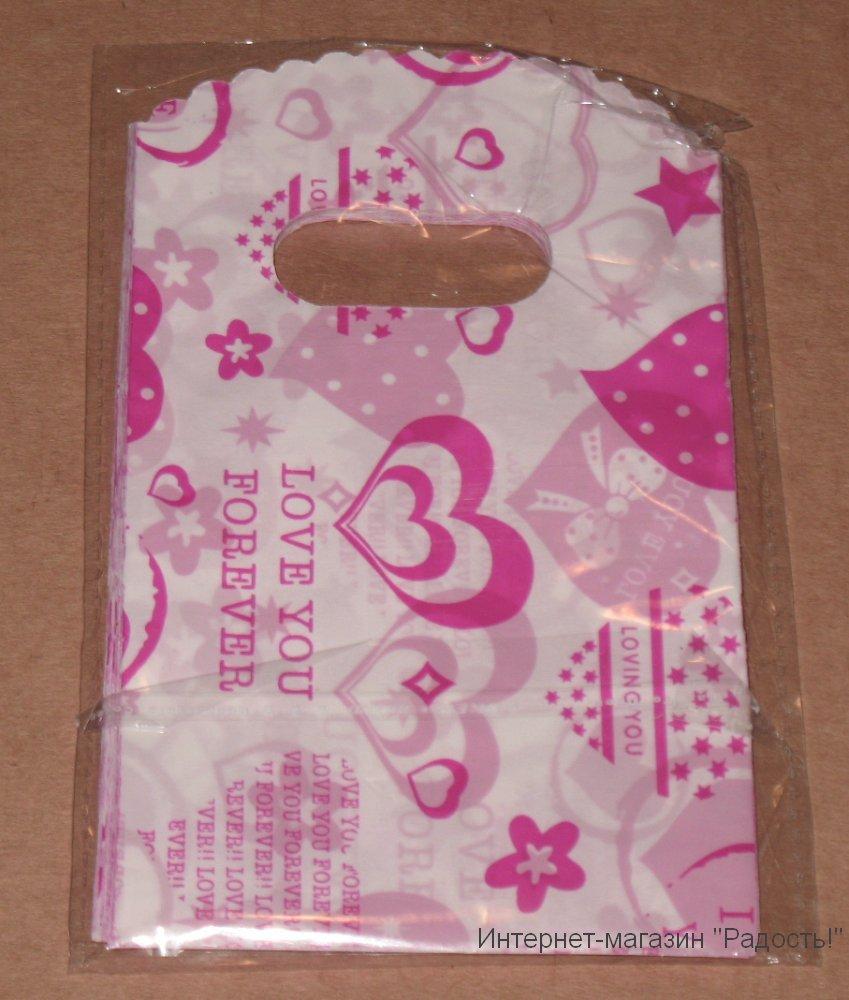 белые подарочные пакетики 9х15 см с розовыми сердечками