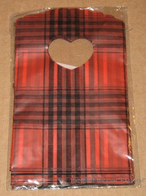 красные подарочные пакеты с чёрными полосками