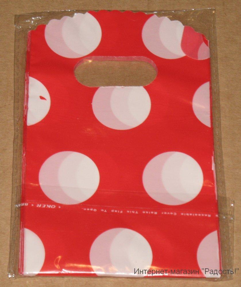 красные подарочные пакеты в белый горошек, 9х15 см
