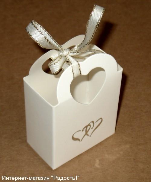 "Белая картонная коробочка ""Корзинка"""