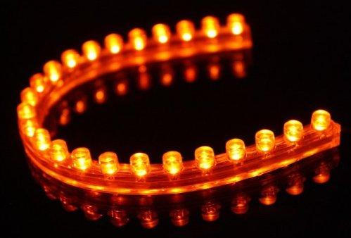 6010. Светодиодная лента в силиконовом корпусе янтарного цвета, 24 светодиода, 12 Вольт / светодиодная подсветка