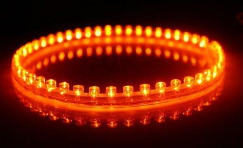 6011. Белая светодиодная лента в силиконовом корпусе янтарного цвета, 48 светодиодов, 12 Вольт, водостойкая / светодиодная подсветка