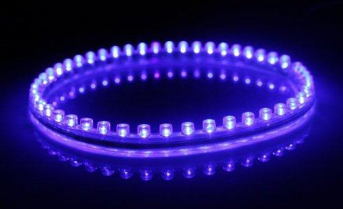 6011. Синяя светодиодная лента в силиконовом корпусе, 48 светодиодов, 12 Вольт, водостойкая / светодиодная подсветка