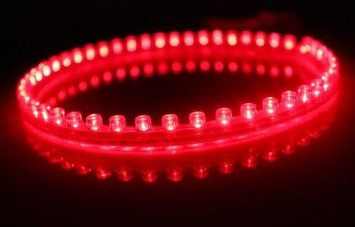 6011. Красная светодиодная лента в силиконовом корпусе, 48 светодиодов, 12 Вольт, водостойкая / светодиодная подсветка