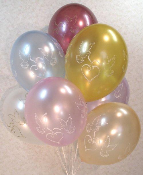 3.58: Воздушные шары для свадьбы «Голуби с сердечком» (35 см)
