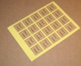 стикеры handmade из коричневой бумаги крафт, квадратной формы, комплект 10 шт - 7 руб