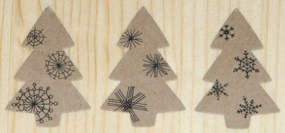 Стикеры ёлочка из крафт-картона со снежинками, для украшения упаковки новогодних подарков