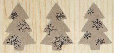 Стикеры ёлочка со снежинкми из крафт-картона
